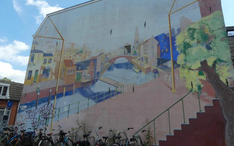 Muurschildering in lichte kleu